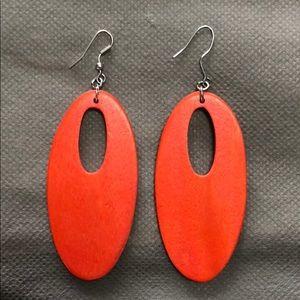 Orange Stained Wood Earrings